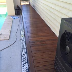 A boardwalk we finished off along the side of a house.