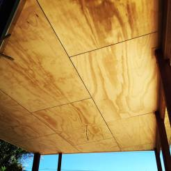 This is the ply ceiling we fitted to the poolside entertainment area. The owners were a little unsure at first, but were completely blown away with how good it turned out. You can either stain this a different colour or use a clear coating instead.
