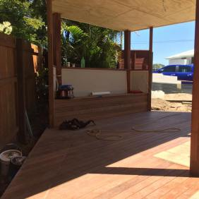 Great shot of the deck, bench seat and ply ceiling.