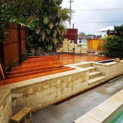 We managed to get half the deck laid before the weather took a turn for the worse. We always use hardwood joists and bearers, especially if the deck will be exposed to the elements.