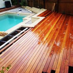 Another angle of the deck, half-laid.