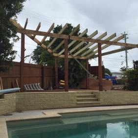 Just finished the roof frame for the outside entertainment area.