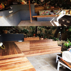 Before and after of an entertainment/BBQ area. A great idea for entertaining and maximising your space.