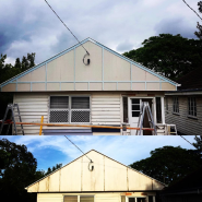 A before and after of our Mitchelton project. Before we lift the house, our clients wanted to bring the old gable back to life.