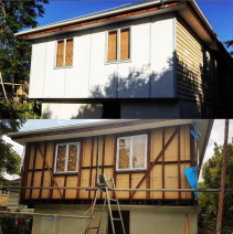 A before and after of the re-clad we finished off yesterday. The plans for this project are pretty amazing! The owner is looking to lift the house this year with a monster deck and skillion roof running off the back of the house