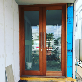 Cedar front doors in at Helensvale. Can't wait to see these stained. A great way to make a grand entrance in to your home.