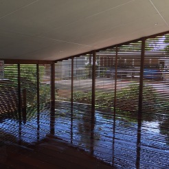 The view from inside the crport 42x19mm Kwila boards used for a privacy screen around the carport.