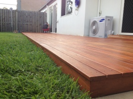 A small deck we built in just two days over an existing concrete slab to bring the entertaining area back to life. We used hardwood joists bolted to the slab with joist covers for extra protection against the elements, with Blackbutt decking boards for a cheaper option with a Nerbau stain to give the deck that nice red colour.